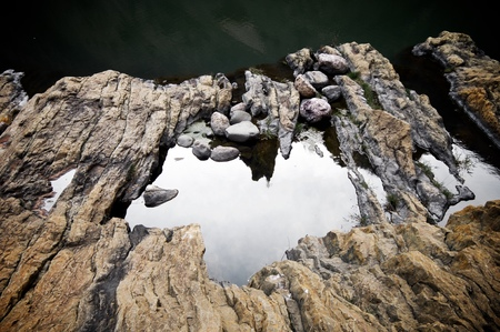 rocks on the banks of Noguera Ribagorzana river, Huesca Province, Aragon in Spain.