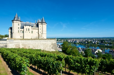 Saumur castle and Loire River, Loire Valley, France. Saumur Castle was built in the tenth century and rebuilt in the late twelfth century. It is now owned by the city and is one of the most famous castles of the Loire Valley.