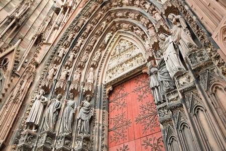 statuary: Cathedral in Strasbourg, Alsace, France. Stock Photo
