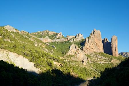 Riglos Mountains, known as Mallos de Riglos, Riglos, Huesca Province, Aragon, Spain. Stock Photo