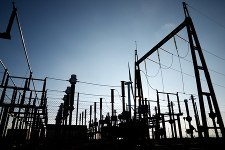 power cables: Closeup of an electrical substation.