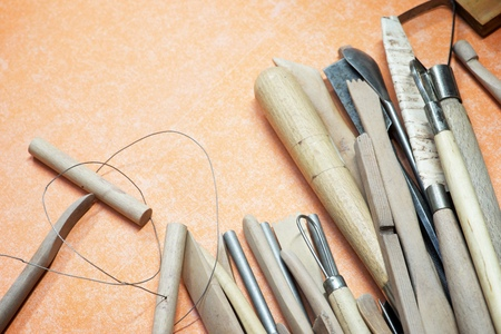 Group of tools used to model clay.