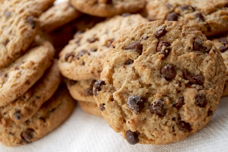 dietary fiber: Group of chocolate chips cookies. Stock Photo
