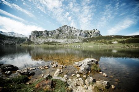 view of  the lakes of Covadonga, National Park Picos de Europa, Asturias, Spain Stock Photo