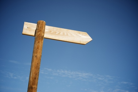 View of a directional wood signal. Stockfoto