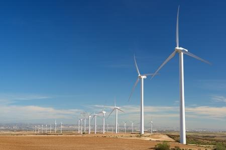 Windmills for electric power production, Zaragoza Province, Aragon, Spain. Stockfoto