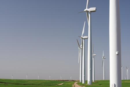 Windmills for electric power production, Zaragoza province, Aragon, Spain Stockfoto