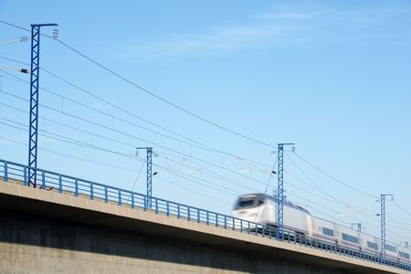 view of a high-speed train crossing a viaduct in Roden, Zaragoza, Aragon, Spain. AVE Madrid Barcelona. Archivio Fotografico