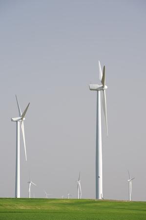 Windmills for electric power production, Zaragoza province, Aragon, Spain Stock Photo