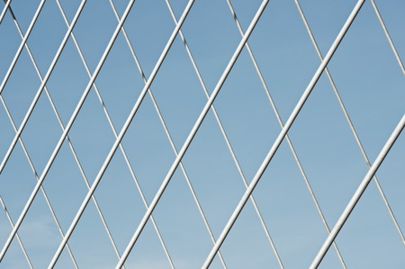 Close-up of a modern suspension bridge in Spain. Stock Photo