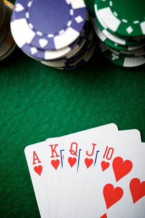 view of a gaming table with green mat Stock Photo
