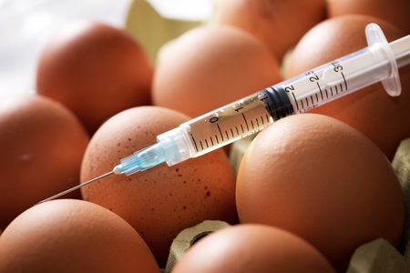 Hormone manipulation with syringe of eggs.