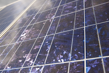 Detail of a photovoltaic panel for renewable electric production Фото со стока