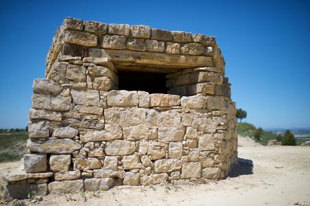 Bunker used during the Spanish Civil War, Tardienta, Huesca Province, Aragon, Spain. Редакционное