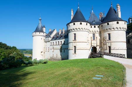 Entrance to the castle of Chaumont Sur Loire, Loire Valley, France. Originally built in the 10th century, has undergone multiple renovations until reaching its present appearance. It is a French Historic Monument since 1840.