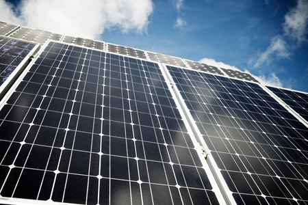 Detail of a photovoltaic panel for renewable electric production. Standard-Bild - 124235350