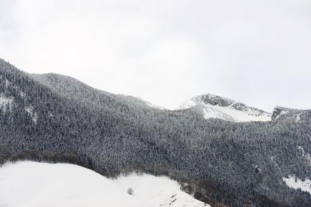 Snowy peak in Aspe Valley, France. Standard-Bild - 124235365