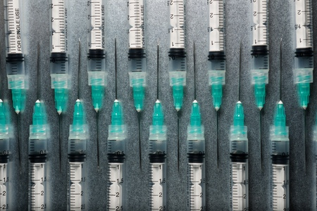 Close-up of a group of syringes. Standard-Bild - 124235369