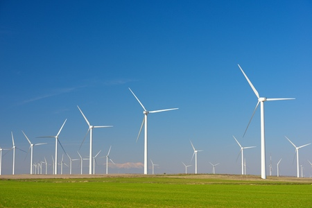 Windmills for electric power production, Zaragoza Province, Aragon, Spain Standard-Bild - 124235382