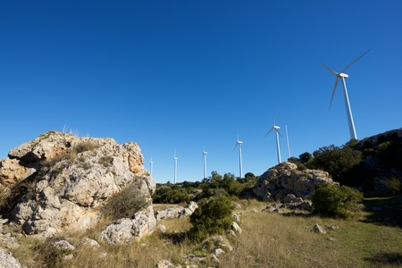 Windmills for electric power production, Zaragoza province, Aragon, Spain. Standard-Bild - 124235384