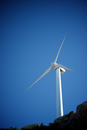 Windmill for electric power production, Zaragoza province, Aragon, Spain. Standard-Bild - 124235389