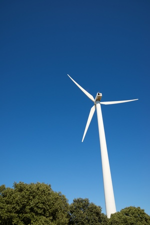 Windmills for electric power production, Zaragoza province, Aragon, Spain. Standard-Bild - 124235396