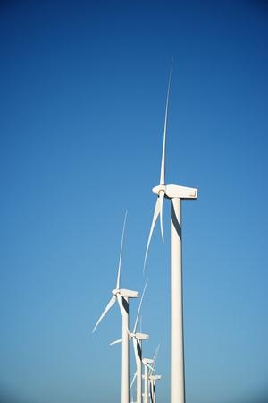 Windmills for electric power production, Zaragoza province, Aragon, Spain. Standard-Bild - 124235408