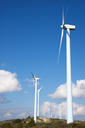 Windmills for electric power production, Huesca province, Aragon, Spain Standard-Bild - 124235412