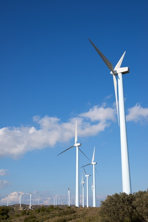 Windmills for electric power production, Huesca province, Aragon, Spain Standard-Bild - 124235433