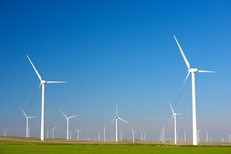 Windmills for electric power production, Zaragoza Province, Aragon, Spain Standard-Bild - 124235441