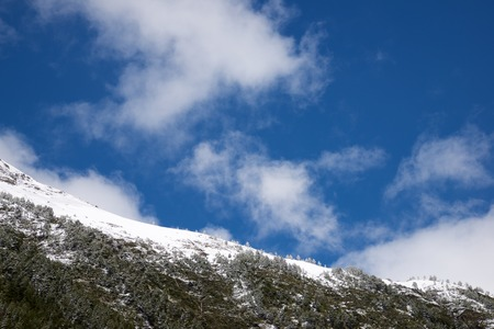 Snowy hills in Canfranc Valley, Pyrenees, Huesca, Aragon, Spain. Standard-Bild - 124235445