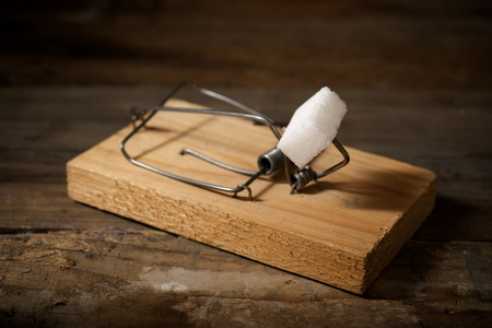 Sugar cube in a mousetrap on a wooden table.