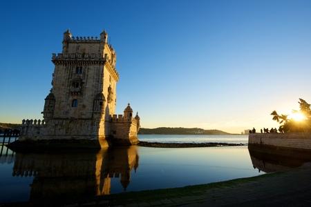 Belem Tower on Tagus river, Lisbon, Portugal. Standard-Bild - 124248439