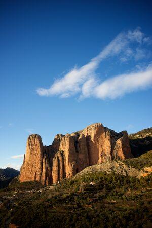 Riglos Mountains, known as Mallos de Riglos, Riglos, Huesca Province, Aragon, Spain. 版權商用圖片