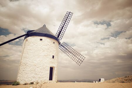 Windmill in Consuegra, Toledo Province, Castilla La Mancha, Spain. Stok Fotoğraf