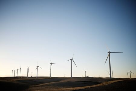Windmills for electric power production, Zaragoza province, Aragon, Spain. Stock Photo