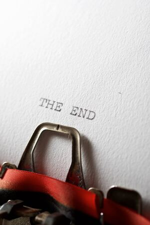 The sentence, The End, written with a typewriter.