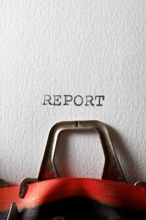 The word, Report, written with a typewriter. Archivio Fotografico