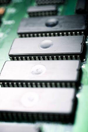 Close-up of an integrated circuit.