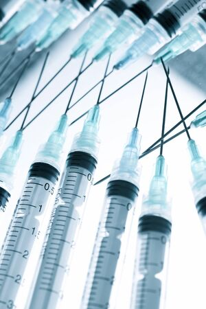 Close-up of a group of syringes.