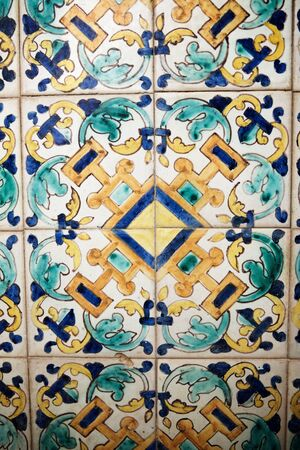 Background created by a tiled wall in Cordoba, Andalusia, Spain.