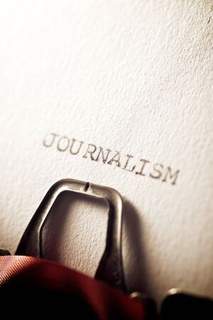 The word, Journalism, written with a typewriter.