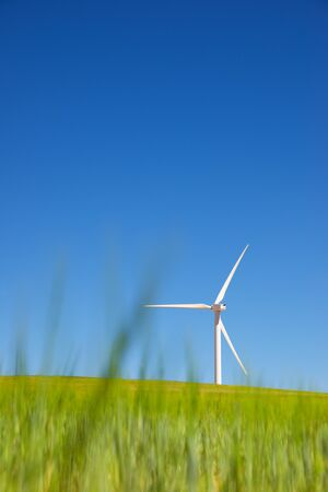 Windmills for electric power production, Zaragoza province, Aragon, Spain. Standard-Bild