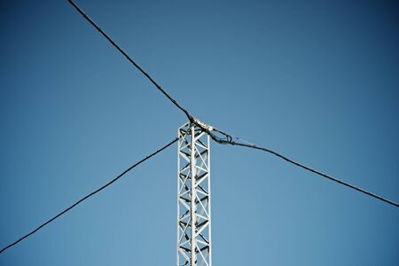 Power line in Huesca province, Aragon, Spain. Imagens