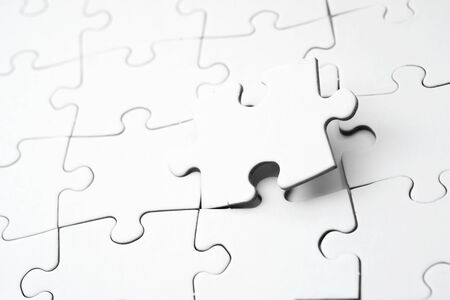 Close up of the pieces of a puzzle Stock Photo