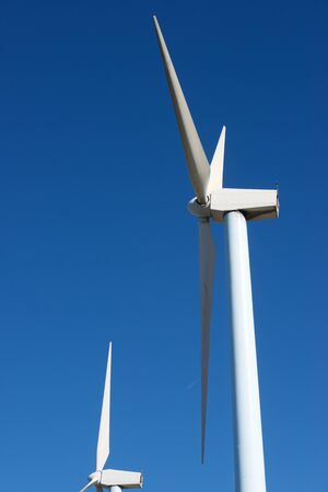 Windmills for electric power production, Zaragoza province, Aragon, Spain. 写真素材 - 126421316
