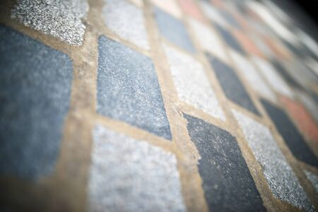 Floor of a street with stone tiles in London, England. Stock Photo