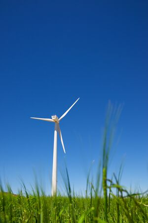 Windmills for electric power production, Zaragoza province, Aragon, Spain. 写真素材 - 126420631
