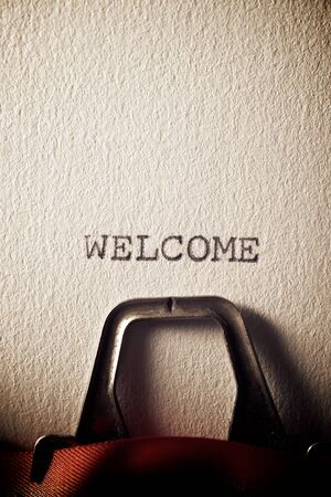 The word, Welcome, written with a typewriter. Stockfoto