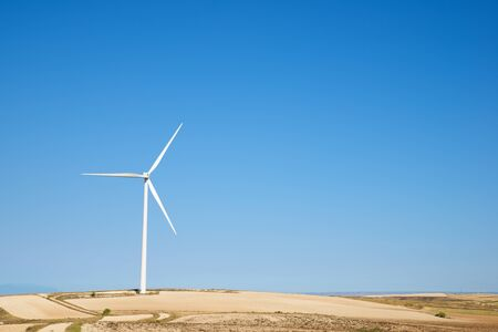 Windmill for renewable electric production in Zaragoza Province, Aragon, Spain.